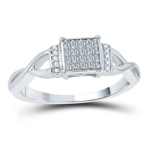 Womens 1/5 CT. T.W. Princess White Diamond 10K Gold Engagement Ring