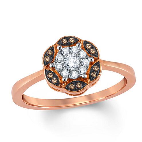 Womens 1/6 CT. T.W. Round White Diamond 10K Gold Engagement Ring