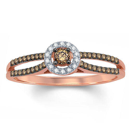 1/3 CT. T.W. Round Champagne Diamond 10K Gold