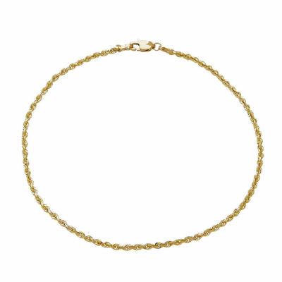14k Yellow Gold 2 5mm Rope Chain Bracelet