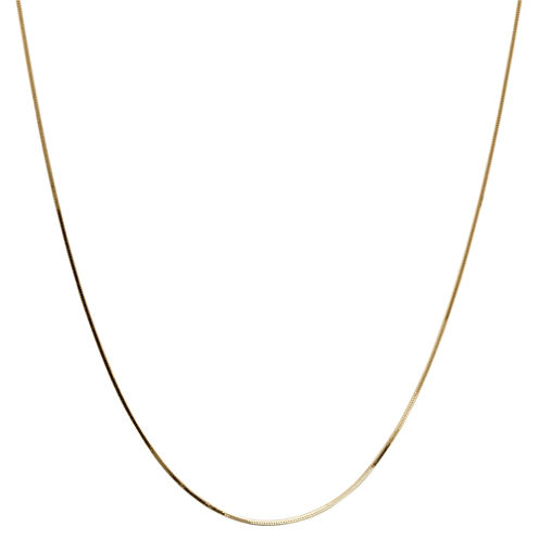 14K Yellow Gold Solid Snake Chain Necklace