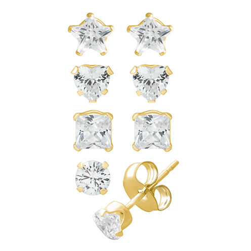 4-pc. White Cubic Zirconia 14K Gold Over Silver Earring Sets