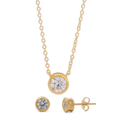 jcpenney.com | Womens 2-pc. White Cubic Zirconia Gold Over Silver Jewelry Set