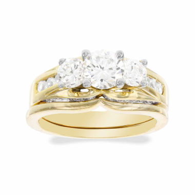 jcpenney.com | DiamonArt® Cubic Zirconia 2 1/2 CT. T.W. 10K Yellow Gold 3-Stone Ring