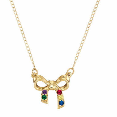 jcpenney.com | Personalized Genuine Birthstone Bow Pendant Necklace