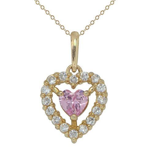 Petite Lux Womens Pink Cubic Zirconia 10K Gold Pendant Necklace