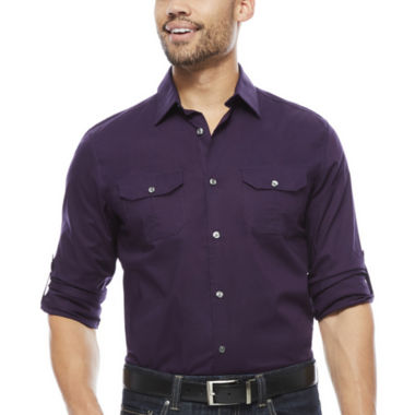 jcpenney.com | Claiborne® Slim-Fit Roll-Sleeve Shirt