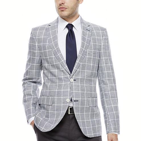 The Savile Row Navy White Plaid Sport Coat-Slim Fit