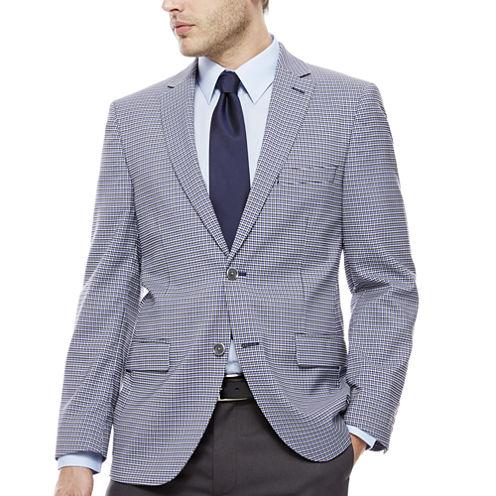 The Savile Row Company Blue Grey Check Sport Coat-Slim Fit