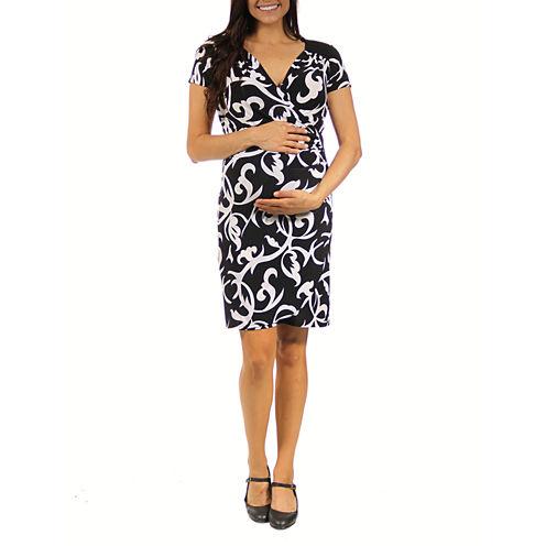 24/7 Comfort Apparel Wrap Dress-Plus Maternity