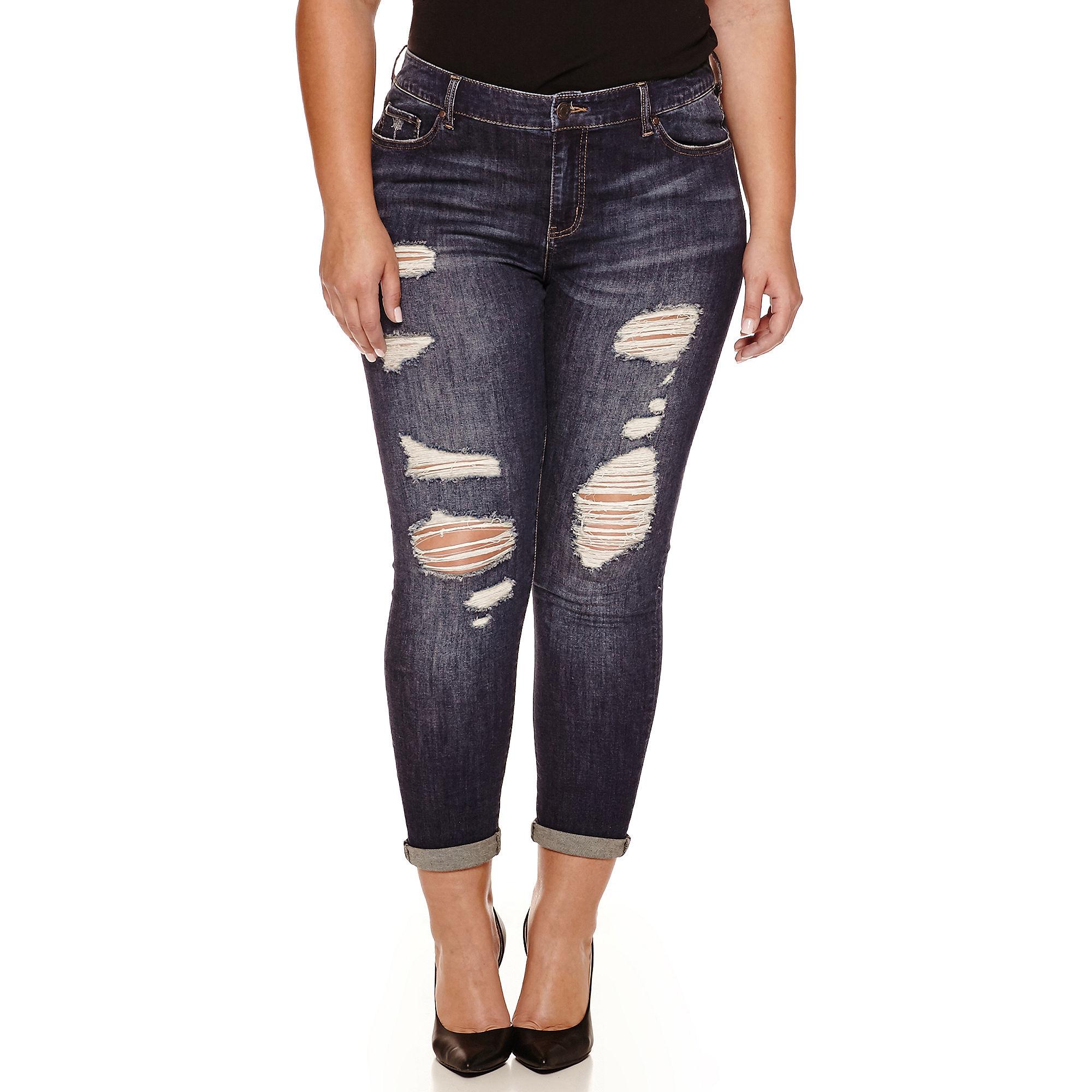 Crave Destructed Boyfriend Skinny Jeans - Juniors Plus plus size,  plus size fashion plus size appare