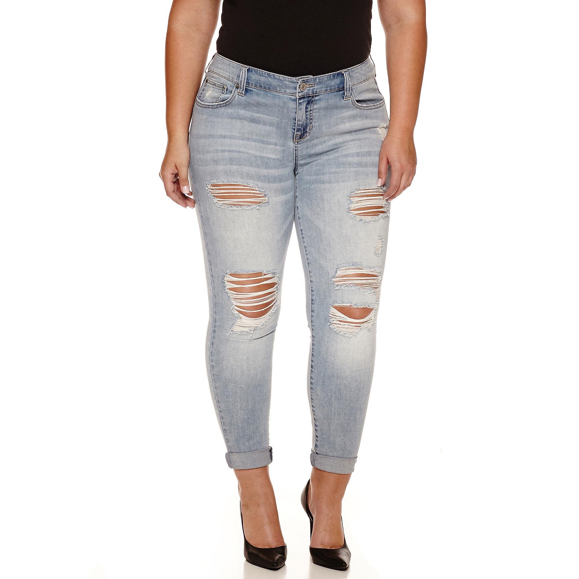 Crave Destructed Skinny Jeans - Juniors Plus plus size,  plus size fashion plus size appare