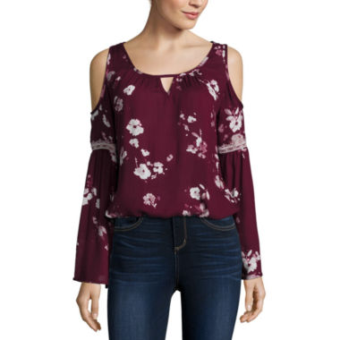 jcpenney.com | Arizona Bell Sleeve Cold Shoulder Top- Juniors