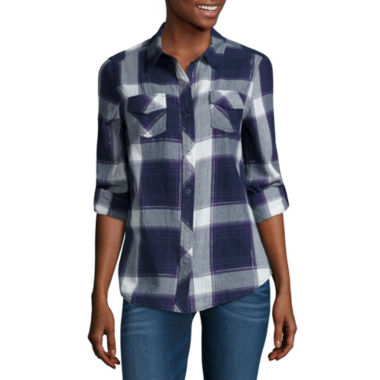 jcpenney.com | Arizona Long Sleeve Classic Plaid Shirt-Juniors