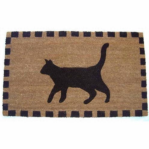 """Black Cat Rectangular Doormat - 18""""X30"""""""