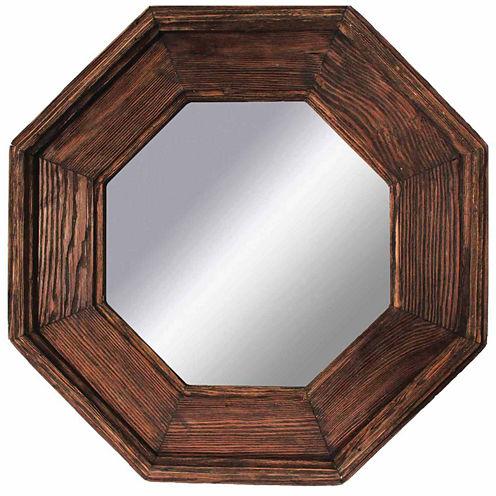 Rustic Natural Brown Octagonal Mirror