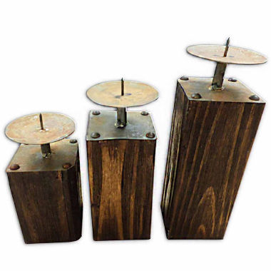jcpenney.com | Table Top Candle Holders With Rustic Wood Base- Set of 3