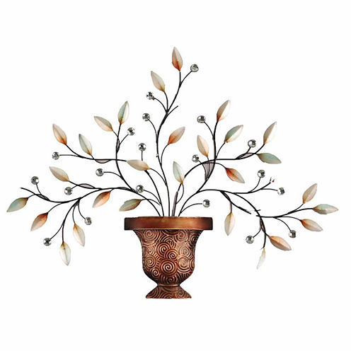 Leaves with Diamonds Bronze Vase Wall Decor