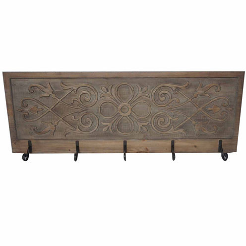 5 Hook Filigree Panel Wall Decor