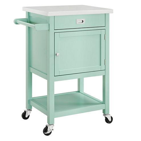 Linon Sydney Stainless Steel-Top Kitchen Cart