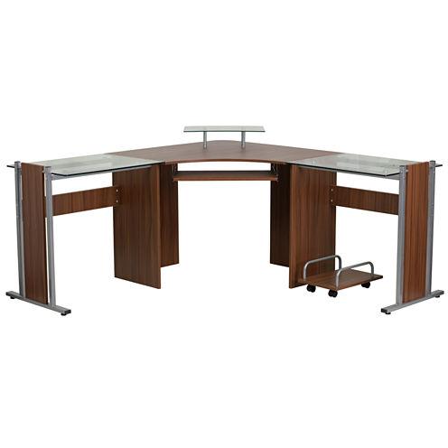 Teakwood Laminiate Corner Desk with Cart