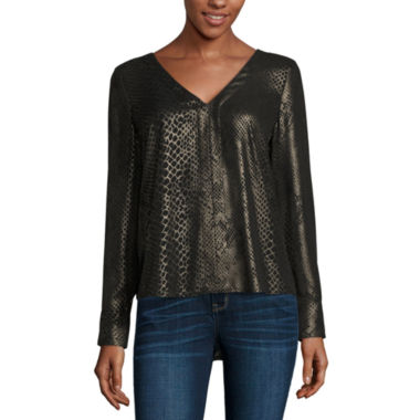 jcpenney.com | a.n.a Long Sleeve V Neck Georgette Blouse