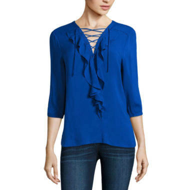jcpenney.com | a.n.a Long Sleeve Y Neck Rayon Blouse-Talls