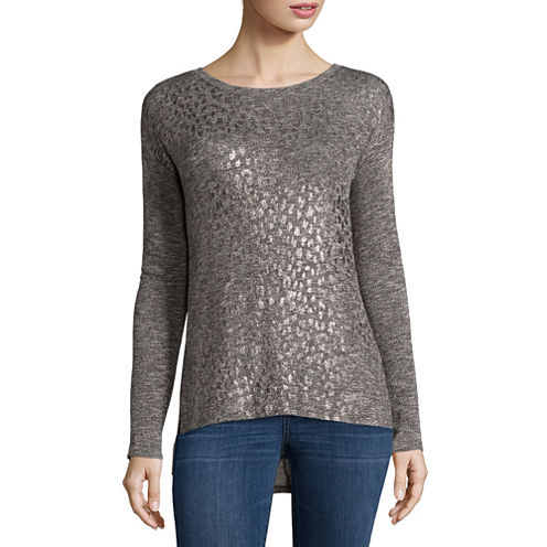 a.n.a Long Sleeve Round Neck T-Shirt-Womens Petites