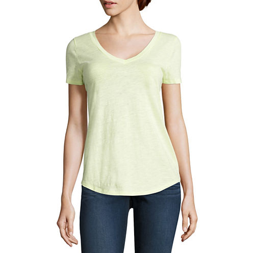 Stylus Short Sleeve V Neck T-Shirt-Womens