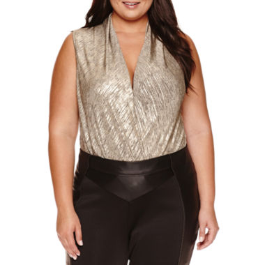jcpenney.com | Bisou Bisou Sleeveless V Neck Bodysuit-Plus