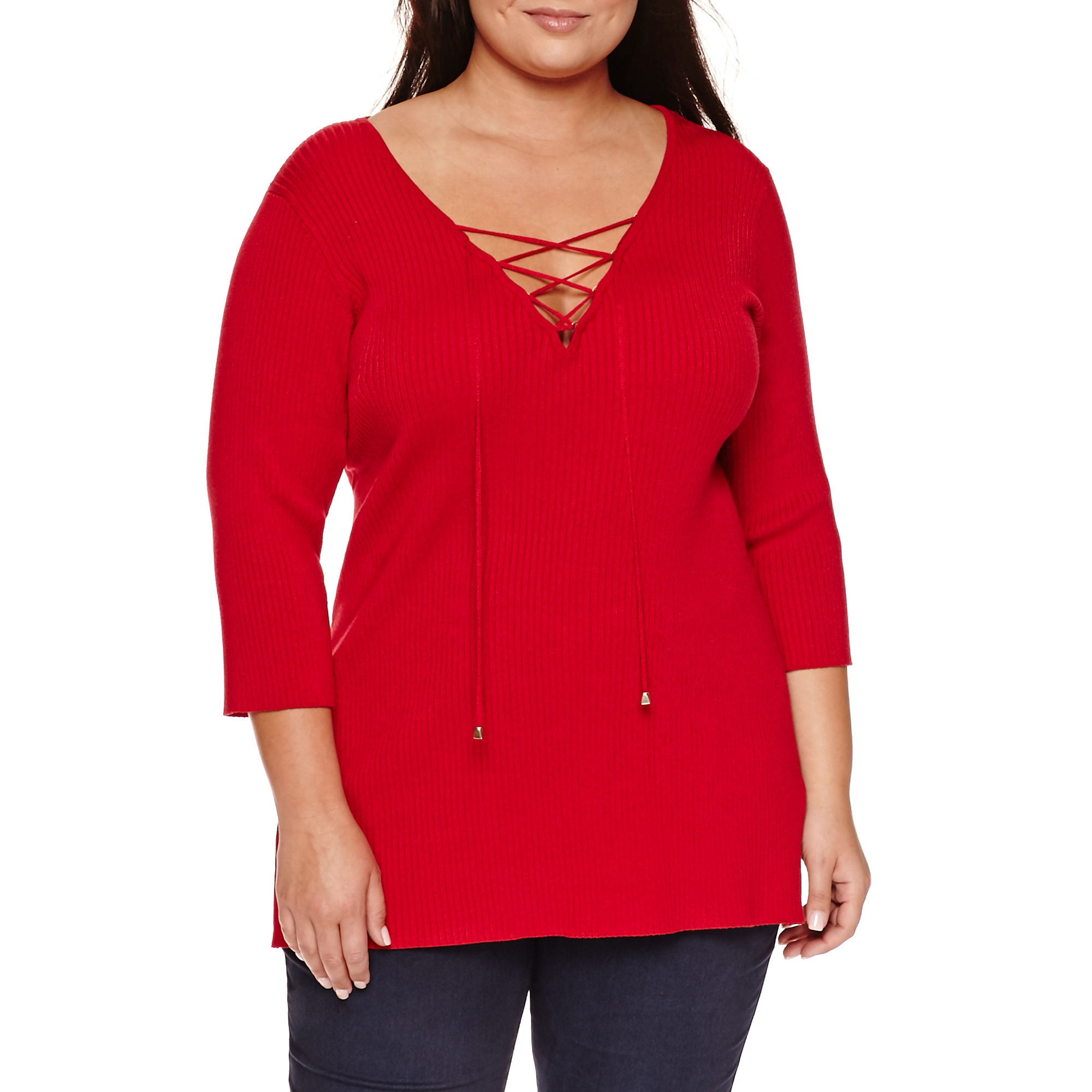 Bisou Bisou Long Sleeve Lace Up Sweater-Plus