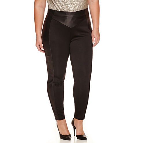 Bisou Bisou Pleather Trim Leggings Plus
