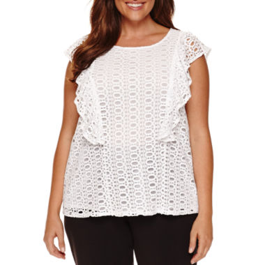 jcpenney.com | Worthington® Flutter Sleeve Lace Blouse - Plus