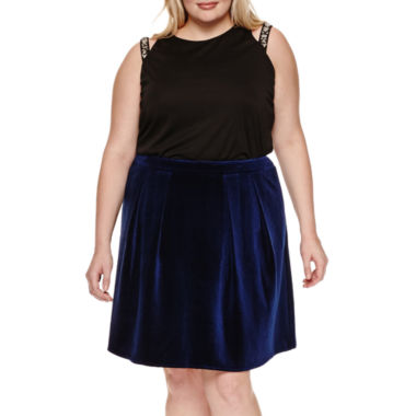 jcpenney.com | SLEEVELESS CUT OUT EMBELLISHED STRAP TOP, VELVET PARTY SKIRT