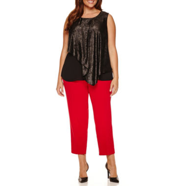 jcpenney.com | Worthington® Sleeveless Double Layer Blouse or Zipper Slim Suiting Ankle Pant - Plus
