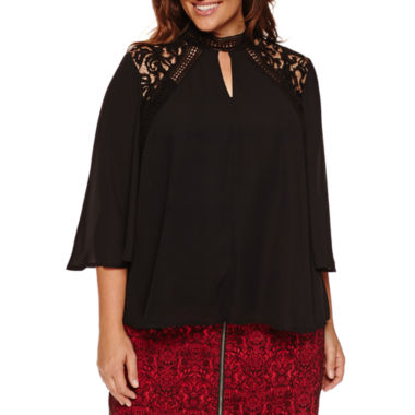 jcpenney.com | Worthington® 3/4 Sleeve Victorian Lace Blouse - Plus