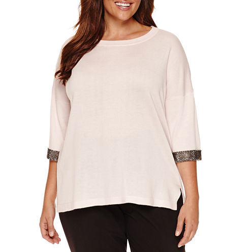 Worthington® Elbow Sleeve Beaded Cuff Pullover Sweater - Plus