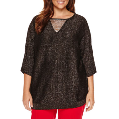 jcpenney.com | Worthington® Elbow Sleeve Necklace Sweater Tunic - Plus