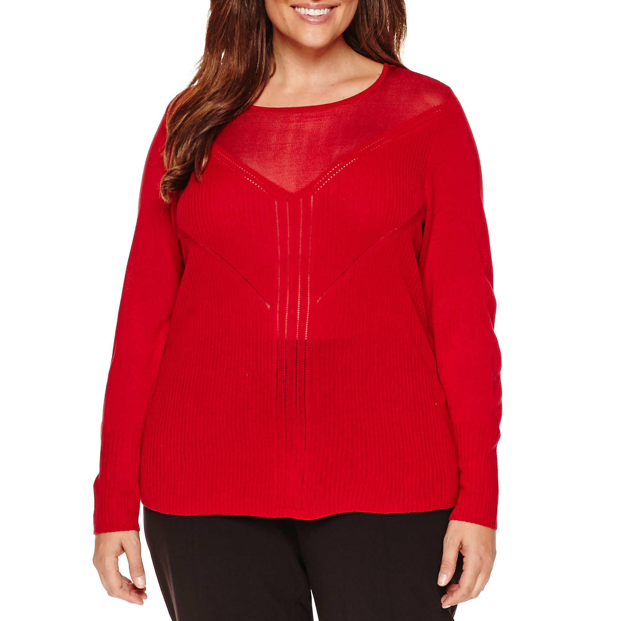 Worthington Long Sleeve Illusion Pullover Sweater - Plus