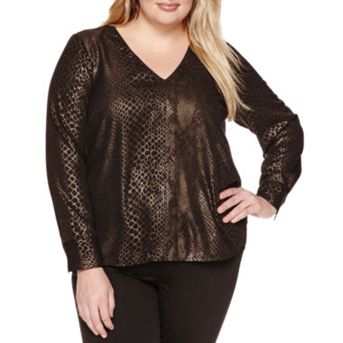 jcpenney.com | a.n.a Long Sleeve V Neck Woven Blouse-Plus