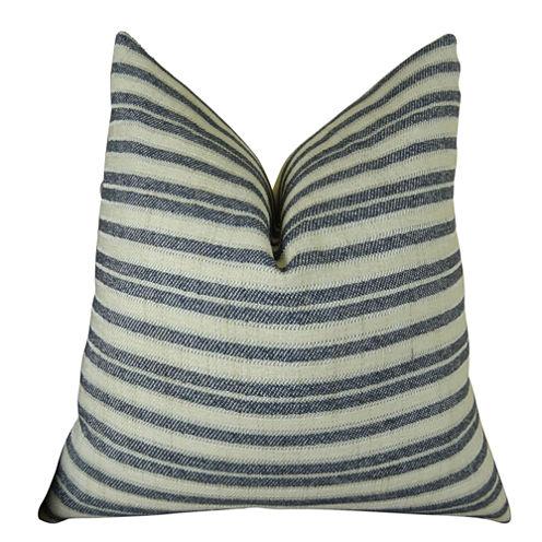 Plutus Stone Manor Indigo Handmade Throw Pillow