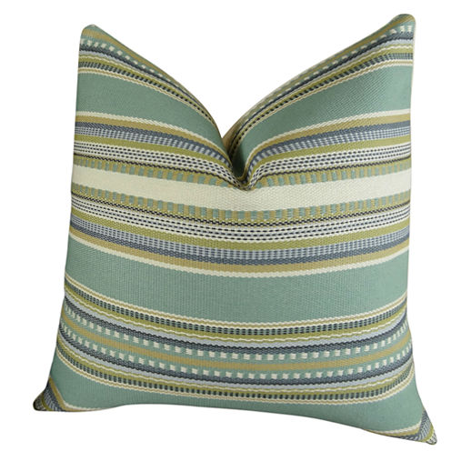 Plutus Chic Stripe Aloe Handmade Throw Pillow
