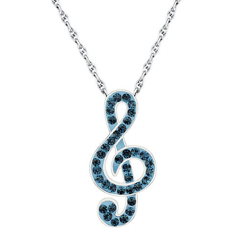 Sterling Silver Crystal Music Treble Clef Pendant