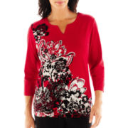 Alfred Dunner® On the Red Carpet Split-Neck Print Top