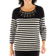 Alfred Dunner® On the Red Carpet Striped Beaded Yoke Sweater