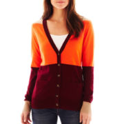jcp™ Front-Pocket Cardigan Colorblock - Petite