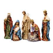 "Roman 8"" Gold Leaf Nativity Figures with Papercut Design 5 Piece Set"