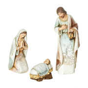 "Joseph's Studio 9"" Holy Family Wood-Like Carved 3 Piece Nativity Set"