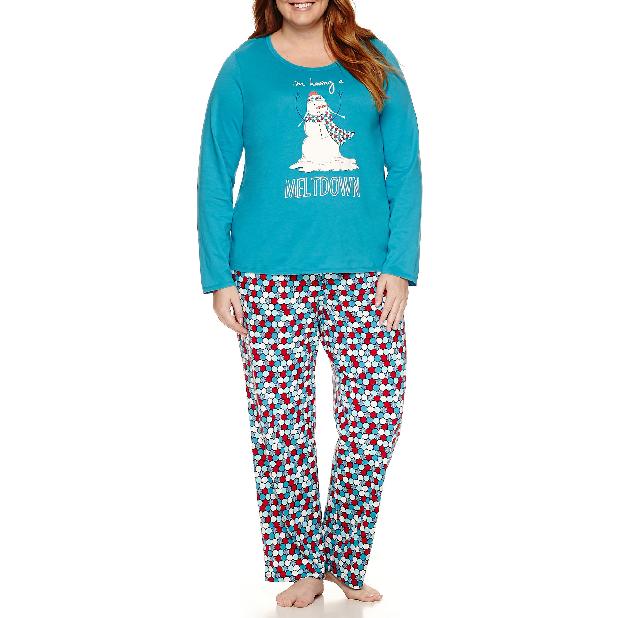 Sleep Chic Long Sleeve Knit Pant Pajama Set-Plus plus size,  plus size fashion plus size appare