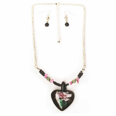 jcpenney.com | Mixit™ Gold-Tone Black Murano Glass Heart Pendant Necklace and Earring Set